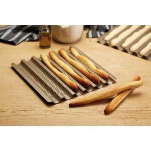 Bandeja para 6 barritas de pan perforada y antiadherente - 30x29 cm