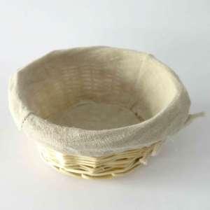 Banetón redondo de mimbre con funda de tela (pequeño)