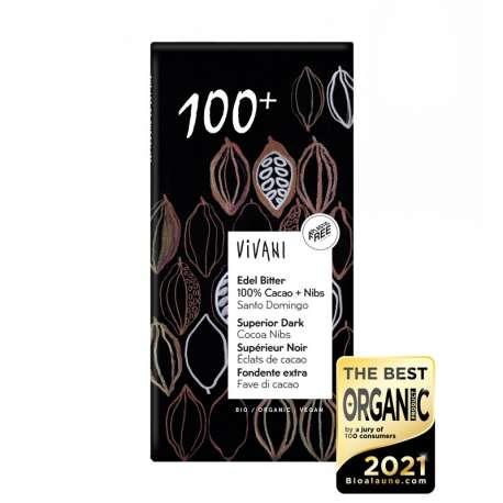 Chocolate negro ecológico con nibs de cacao - 80 g