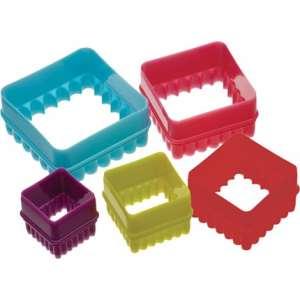 Set de 5 cortadores para galletas cuadradas